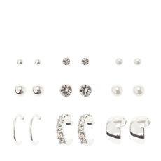Silver,  Crystal,  and Pearl Stud and Half Hoop Earrings