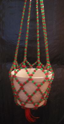 Green and Red Beaded Plant Hanger