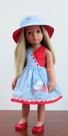 Baby Dress Design, Baby Girl Dress Patterns, Doll Dress Patterns, Kids Dress Wear, Dresses Kids Girl, Kids Outfits, American Girl Dress, American Doll Clothes, American Girls