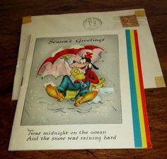 WALT DISNEY'S GOOFY CHRISTMAS CARD--DATE STAMPED DEC. 25 1946 // BY HALLMARK