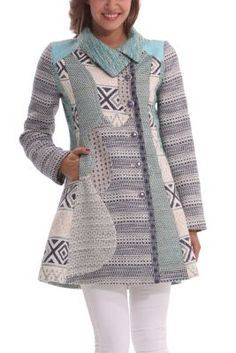 Desigual women's Lady Blue Love coat. A very original coat with a flared hem and a unique combination of fabrics and patterns.