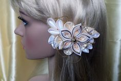 Französische Haarspange,Kanzashi,Hochzeit von Tatyanashop auf DaWanda.com