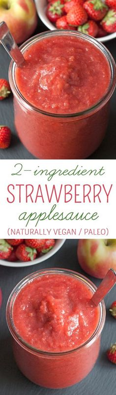 Strawberries, apples and 45 minutes are all you need for this healthy strawberry applesauce! {naturally vegan, gluten-free, paleo, dairy-free and free of added sugar}