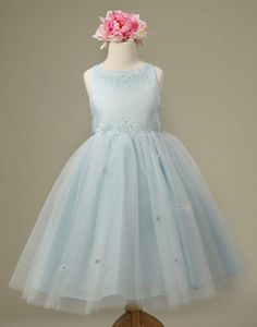 Mesmeric Tulle and Satin Dress with Floral Accents - Light Blue