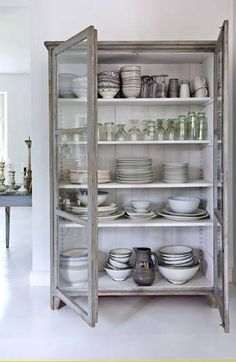 freestanding kitchen cabinets, kitchen storage ideas, furniture in the kitchen, … - Furniture Ideas Free Standing Kitchen Cabinets, Kitchen Pantry Cabinets, Glass Cabinets, Display Cabinets, Vintage Kitchen Cabinets, Kitchen Armoire, Kitchen Display Cabinet, Kitchen Shelves, Glass Shelves