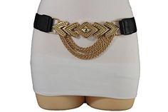 Trendy Fashion Jewelry Women Fashion Belt Gold Metal Chain Long Buckle Hip High Waist Elastic S M