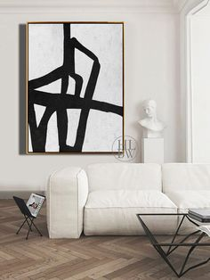 Black And White Painting, White Art, Black White, Art Actuel, Minimalist Art, Abstract Wall Art, Home Deco, Decoration, Mid Century