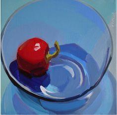 karen o'neil still life, glass, blue, light, transparent, food, red, pepper, hot, reflections