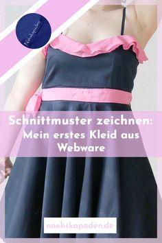 """Es ist nun einige Monate her, da hab ich mir dieses Kleid genäht. Es ist aber nicht einfach ein Kleid, es ist mein erstes Kleid aus Webware überhaupt das ich genäht habe. Es beinhaltet jedoch noch ein paar andere """"erste Male"""" 😉...#kleidnähen#kleid#webwarenähen#schnittkonstruktion#webwarenkleid#nähen#herzausschnitt #volant #volantauschiffon Athletic Tank Tops, Camisole Top, Sewing, Fashion, Sew Mama Sew, Helpful Tips, Sew Dress, Hand Crafts, Couple"""