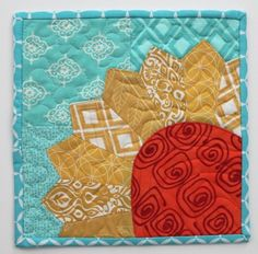 = free pattern = Mug rug:   Sending a Little Sunshine  by Chrissy at Sew Lux Fabrics, featured at Quilt Inspiration.