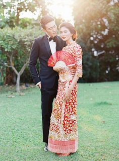 CHINA Bride in traditional Qun Kua and groom in a modern tuxedo // Beautiful Traditions: A Styled Shoot at Emily Hill Wedding Themes, Wedding Styles, Wedding Dresses, Wedding Ideas, Wedding Goals, Red Wedding, Wedding Bride, Bridal Gowns, Wedding Decor