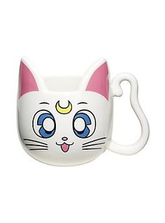 """<div>""""Please stop talking about math when I'm eating."""" - Sailor Venus</div><div><br></div><div>May the topic of math never occur while you're enjoying your coffee again! This adorable white Artemis-shaped mug from <i>Sailor Moon</i> will stand guard to mention of anything requiring logic until after you've had your morning brew. We're just happy this Artemis doesn't bring an alarm clock into our bed! Not suitable for microwave or dishwasher use.</div><ul><li style=""""list-style-position…"""