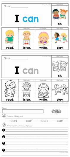 Back to School Sight Word Fluency Flip Books (color and black and white). Includes a recording page for each booklet for extra sight word and writing practice. English Activities, Language Activities, Teaching English, Learn English, English Class, Kindergarten Writing, Literacy, Sight Word Worksheets, Flip Books