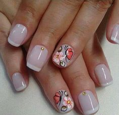 Cute Nail Art, Nail Art Diy, Easy Nail Art, Diy Nails, Cute Nails, Pretty Nails, Nailart, Flower Nails, Nail Stickers