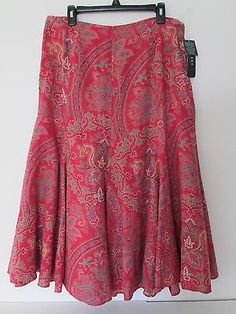 New RALPH LAUREN Paisley Linen Skirt. Cabo Red Multi. 12. Fit Flair. Gorgeous!