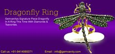 Purchase Dragonfly Ring Made With Diamonds  Tsavorites