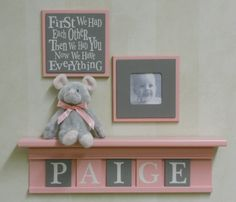 Pink and Gray Baby Nursery Wall Decor  Set of 2  by NelsonsGifts, $29.90. Need this for Lailyns room
