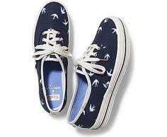 Women - Keds x kate spade new york Triple Bird - Navy Navy Blue Sneakers, Keds Sneakers, Navy Blue Shoes, Lace Sneakers, Keds Shoes, Golden Shoes, Kate Spade Keds, Sneaker Stores, Leather Shoes