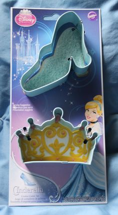 Princess Cinderella Cookie Cutter Set 2 Official Disney Wilton Baking Cake Making Supplies - Glass Slipper High Heel and Tiara / Crown Mold