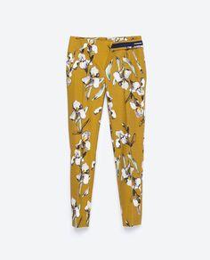 Zara printed mustard pants