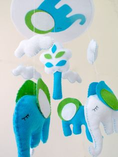 "Baby Crib Mobile - Baby Mobile - Nursery Crib Mobile - Green and Blue Elephant Mobile ""Sleeping Elephant"""