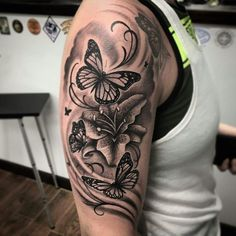 Background/Shading butterfly sleeve tattoo, rose and butterfly tattoo, flower tattoo arm, Piercing Tattoo, Lotusblume Tattoo, Tattoo Shading, Gold Tattoo, Shaded Tattoos, Piercings, Rose And Butterfly Tattoo, Butterfly Tattoo On Shoulder, Butterfly Tattoos For Women