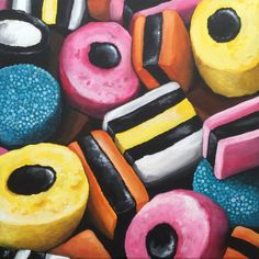 Jane Palmer Art – Paintings for Sale - New Sites Painting Canvas Sizes, Candy Drawing, Sweets Art, Sarah Graham, Art Paintings For Sale, Mini Paintings, Canvas Paintings, Liquorice Allsorts, Candy Art