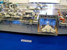 Lego aircraft carrier, close up Lego Aircraft Carrier, Lego Ship, Lego Construction, Lego Design, Lego Models, Lego Moc, Lego Technic, Lego Building, Lego Creations