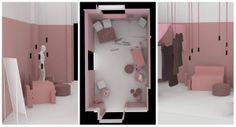 Designblok v růžovém s projektem pinkabinet