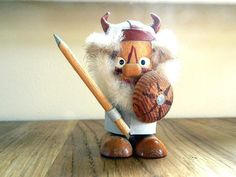 Cute wooden viking from Soviet era - Soviet wooden toy - souvenir