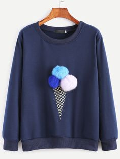 SheIn offers Navy Ice Cream Print Pom Pom Sweatshirt & more to fit your fashionable needs. Sweat Noir, Diy Fashion, Fashion Outfits, Fashion Black, Style Fashion, Fashion Ideas, Vintage Fashion, Fashion Trends, Printed Sweatshirts