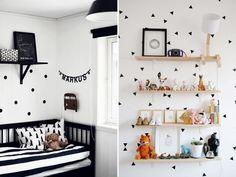 Já falamos aqui sobre como a combinação de preto e branco pode ser uma boa opção para o quartinho do bebê, já que padrões simples podem ajudar no desenvolv