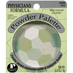 (Physicians Formula) Multi-Colored Powder Palette Corrector, Green 1639. I love this stuff, I either use it under OR on top of my mineral foundation. I usually use it around my chin area and also around my nose. Also great for touch-ups and for oil-absortion.