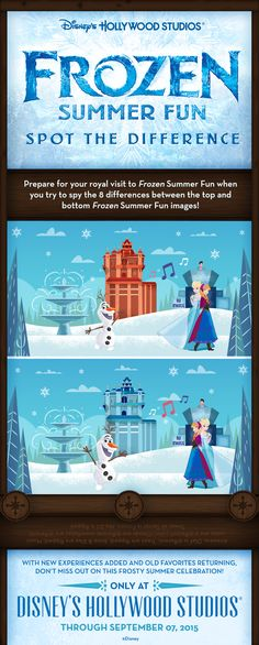 Prepare for your visit to Disney's Hollywood Studios for Frozen Summer Fun with a little game! See if you can spot the differences between the two images!