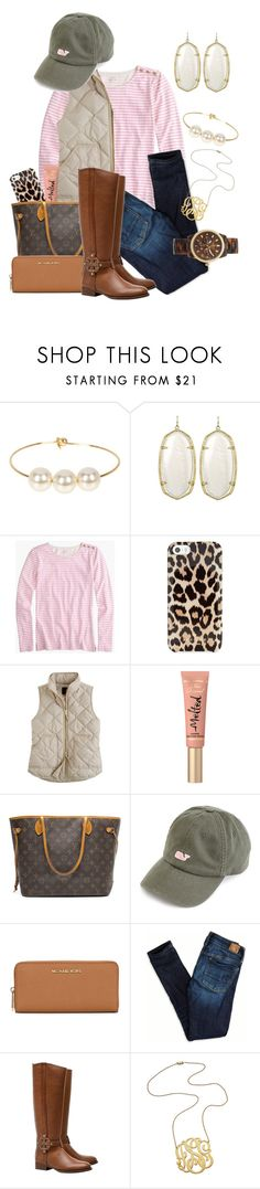 """She's Gone Preppy"" by vineyard-vines-love ❤ liked on Polyvore featuring Jules Smith, Kendra Scott, J.Crew, Kate Spade, Too Faced Cosmetics, Louis Vuitton, MICHAEL Michael Kors, American Eagle Outfitters, Tory Burch and Jennifer Zeuner"