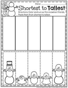 Sort by Size Winter Worksheet for Preschool Preschool Learning Activities, Preschool Lessons, Preschool Classroom, Preschool Worksheets, Kindergarten Activities, Classroom Activities, Preschool Winter, Winter Preschool Activities, Cutting Activities