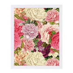 "East Urban Home 'Vintage Roses Flowers Floral Grunge 2' Framed Graphic Art Print Size: 11"" H x 9"" W x 1"" D, Frame Color: White"