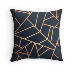 Copper and Midnight Navy A case/skin Throw Pillows Navy Home Decor, Blue Living Room Decor, Bed In Living Room, Wood Home Decor, Living Area, Bedroom Decor, Pink And Copper Bedroom, Blue Loveseat, Navy And Copper