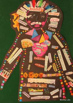 self portrait with magazine cutting words and mixed media