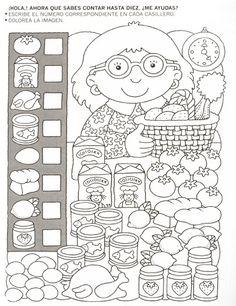 123 Manía: actividades de matemática para imprimir, resolver y colorear - Betiana 1 - Веб-альбомы Picasa Más Educational Activities, Learning Activities, Kids Learning, Teaching Math, Preschool Activities, Hidden Pictures, Math For Kids, Kindergarten Worksheets, Kids Education