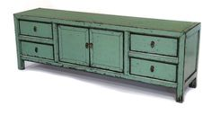 Solid reclaimed wood green low media console with center storage and 4 drawers. Hand painted.    PLEASE NOTE: Shipping cost is only an estimate and