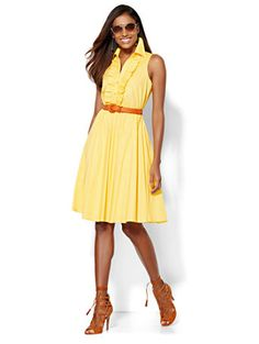 Shop Ruffle-Front Shirtdress - Solid . Find your perfect size online at the best price at New York & Company.