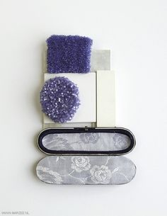 Helena Lehtinen ~Brooch: Gardens, 2011, silver, reconstructed stone, glass beads, felt, antique box | MARZEE.nl - #contemporary jewelry