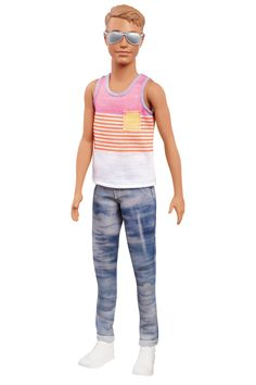 Barbie Fashionistas Hyped on Stripes Ken from Mattel Barbie And Ken Costume, Doll Clothes Barbie, Mattel Barbie, Polly Pocket, Boys Colored Hair, Best White Sneakers, Ken Doll, Barbie World, Preppy