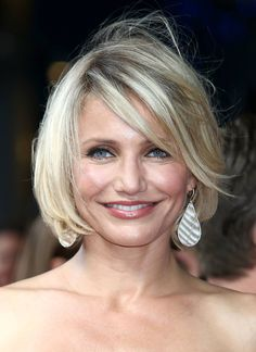 """""""Cameron Diaz is proof rules are meant to be broken. Usually bobs don't look good on round face shapes, but this particular bob looks fantastic on Cameron Diaz, who has a natural round face. Why? Her sideswept bangs add angles to her hairstyle and her hair is very straight so it doesn't add width to the sides of her head."""""""