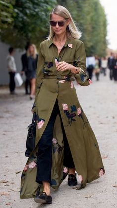 bold green coat with embroidery