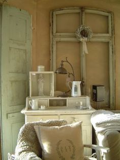 Living Room. Chalk Painted. Chippy, Shabby Chic, Whitewashed, Cottage, French Country, Rustic, Swedish decor Idea.. ***Pinned by oldattic ***.