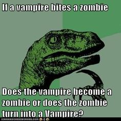 I honestly don't think a vampire would want to bite a zombie... it would just taste nasty. XD