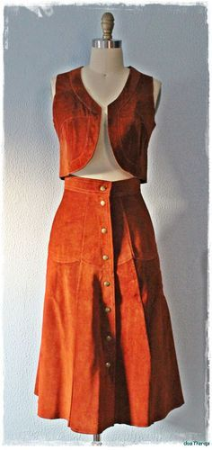 Vintage whiskey suede vest and skirt... LOVE!