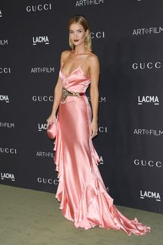 - As per usual, Rosie Huntington-Whiteley was statuesque perfection in pink silk Gucci.